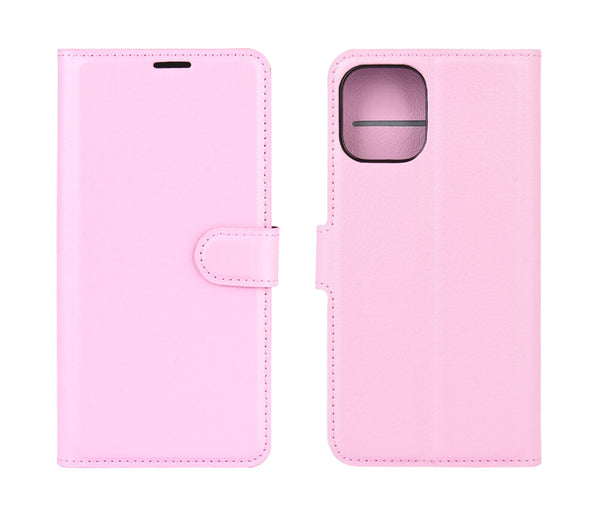 LITCHI LEATHER WALLET CASE for iPhone 12 Pro & 12 Max#Colour_Light Pink