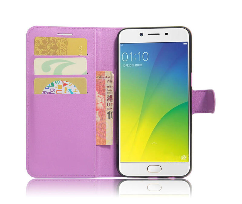 LITCHI LEATHER WALLET CASE for Oppo A77