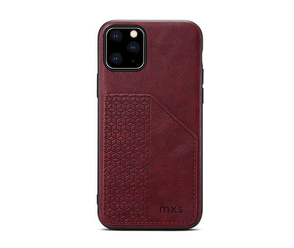 MXS PROTECTIVE & STYLISH LEATHER BACK 1 CARD SLOT CASE for iPhone 12 Mini#Colour_Red