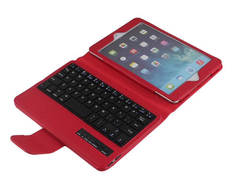 Protective Litchi Leather Bluetooth Case with Keyboard