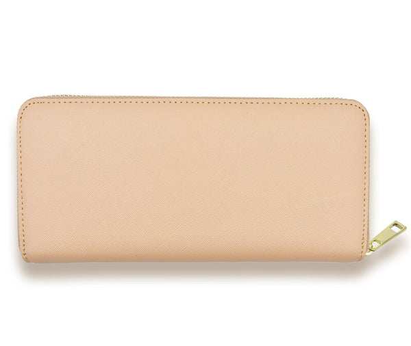 GENUINE SAFFIANO LEATHER ZIP WALLET#Colour_Taupe