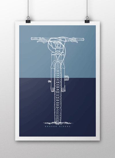 Broken Riders Single Crown art print in two colour blue