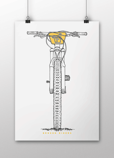 Broken Riders Single Crown art print in black and yellow