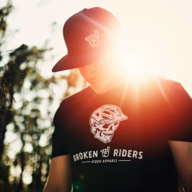 detail of broken riders hell rider t-shirt black organic cotton