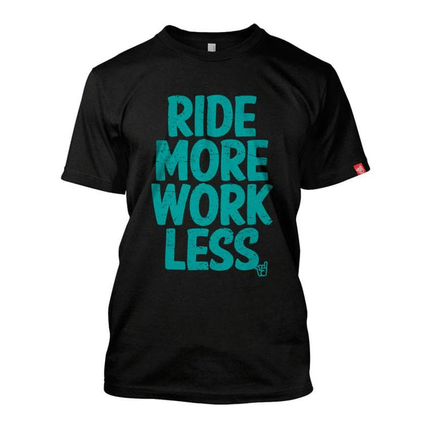 Men's Ride More Work Less turquoise logo black organic cotton tee