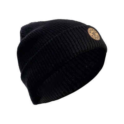 Broken Riders super-soft black merino beanie with leather logo patch