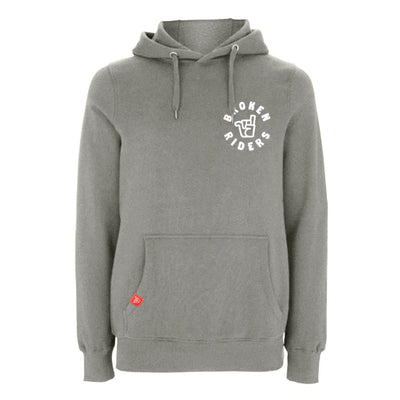Men's Broken Riders logo grey organic cotton pullover hoodie