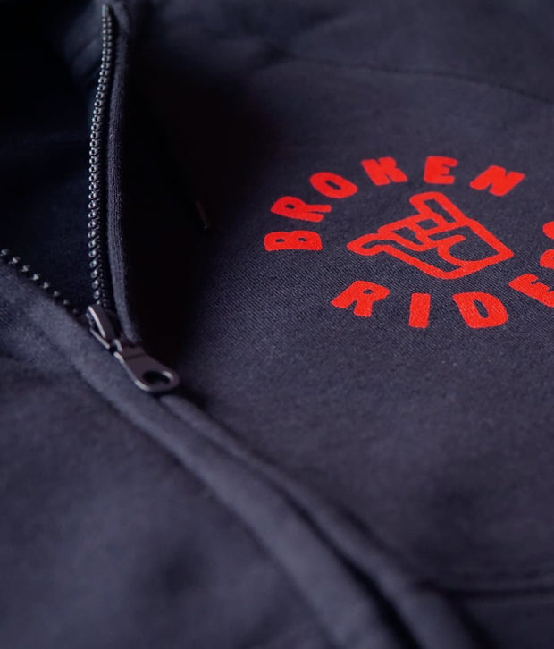 Men's Broken Riders logo navy organic cotton zip hoodie detail
