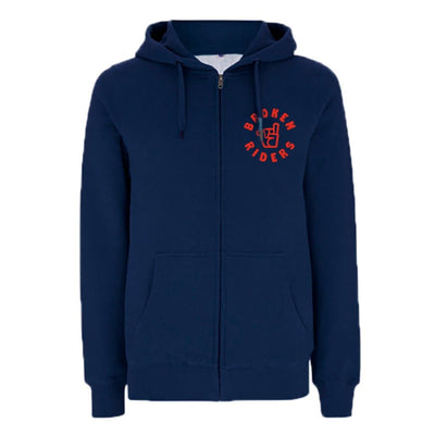 Men's Broken Riders logo navy organic cotton zip hoodie