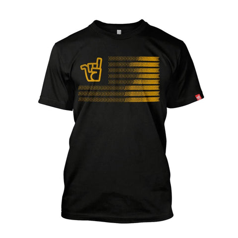 Men's gold Stateside logo black organic cotton tee