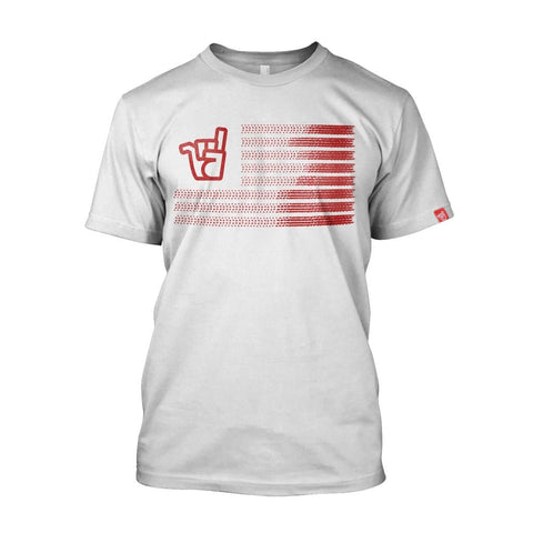 Men's blood red Stateside logo white organic cotton tee