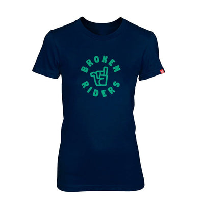 Broken Riders womens sea green logo navy bamboo tee