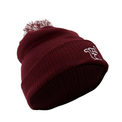 broken riders heather claret bobble beanie