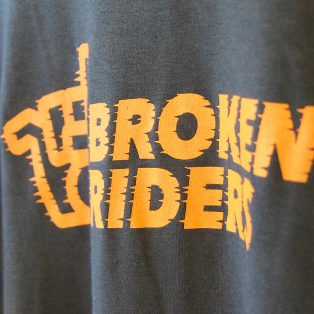 Detail of Broken Riders Fast As F**k black bamboo t-shirt