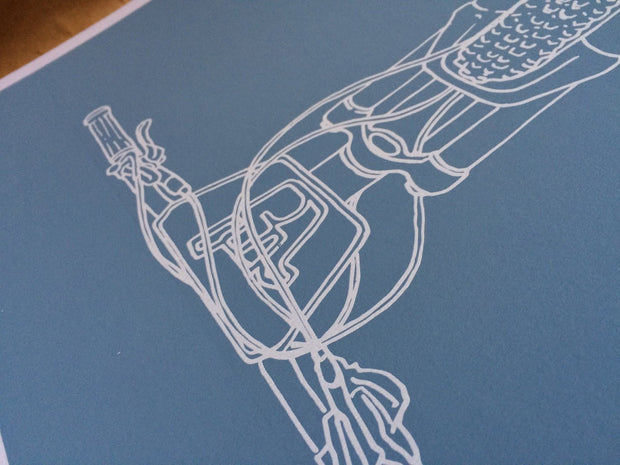 Detail of Broken Riders Single Crown art print in two colour blue