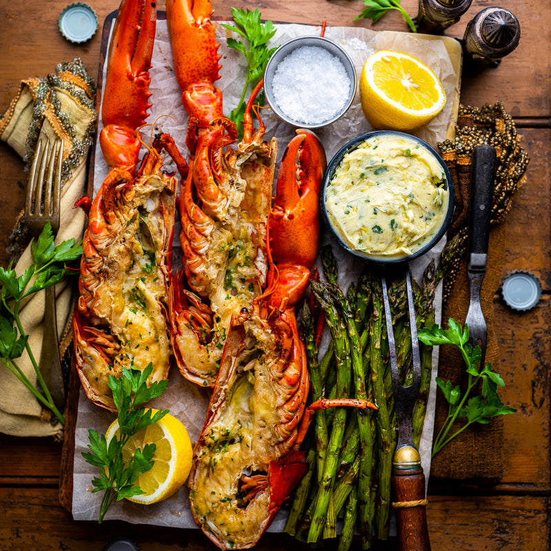 Recipe: Grilled Lobster with Lemon Garlic Compound Butter