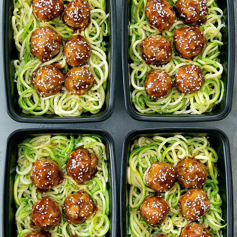 Recipe: Asian Glazed Meatballs with Zucchini Noodles Meal Prep