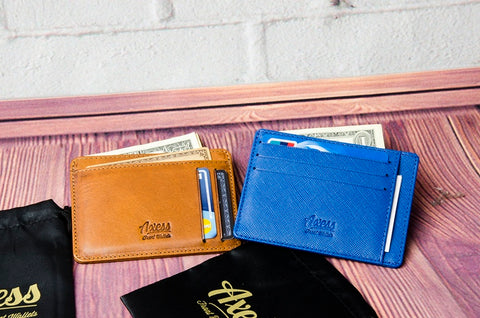 Axess Wallets in Traditional and Saffiano leather finishes