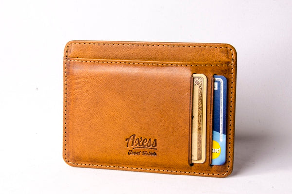 Axess Caramel Italian leather front pocket wallet