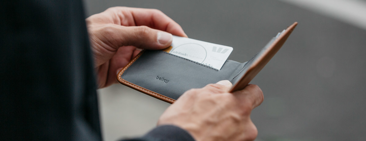 Leather Bellroy Wallet with Card