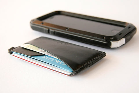 SLIM Leather Cardholder wallet with cards and cash