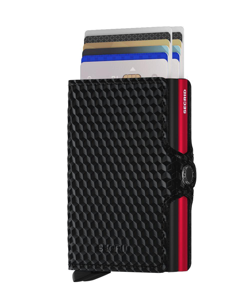Wallet - SECRID Twinwallet Cubic Black-Blue