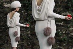 NEW ARRIVAL - Double Pink Fur Pom Pom Silver Chained Belt