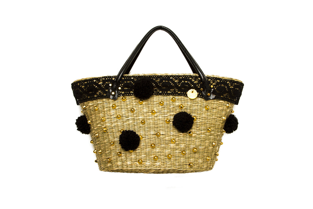 NEW ARRIVAL - Summer Beauty Gold Studded Round Black Pom Pom Straw Bag