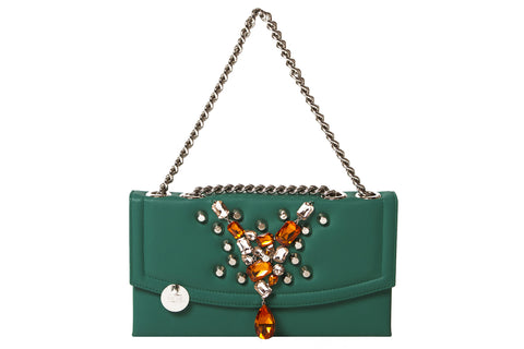 Orange Stone & Silver Stud Poisonous Green Bon Bon Clutch