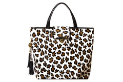 Enormous Statement Tote White Leopard