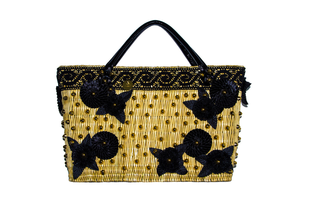 NEW ARRIVAL - Summer Beauty Gold Studded Black Rose & Round Flower Straw Bag