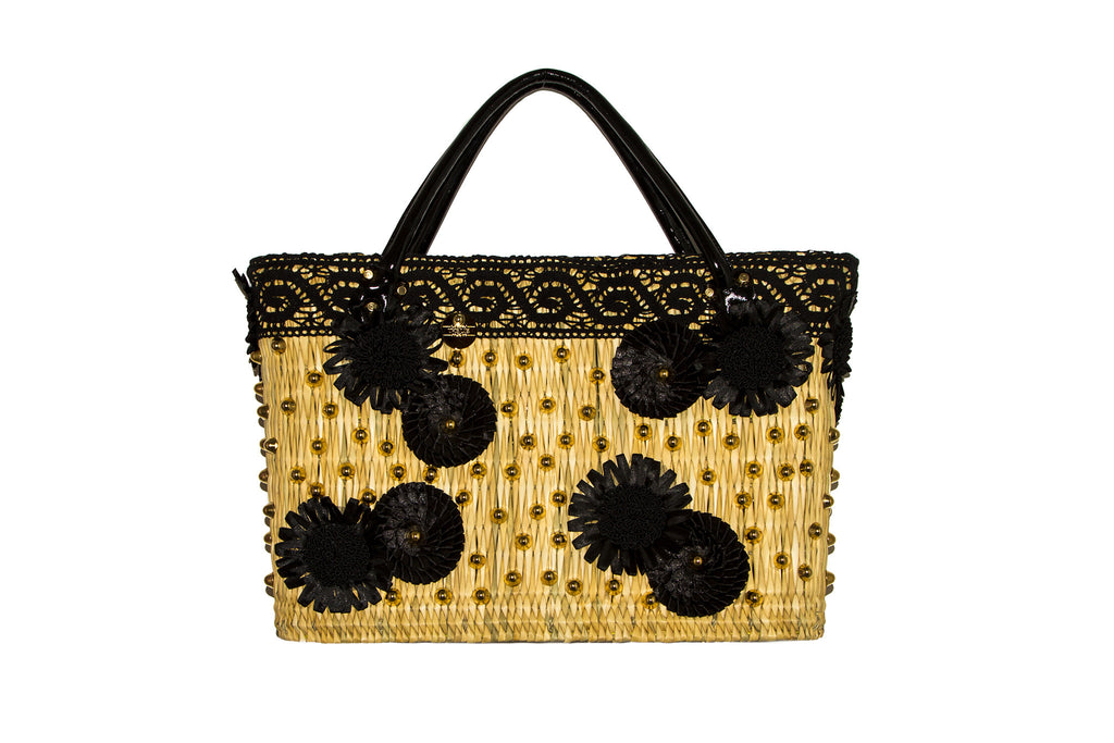 NEW ARRIVAL - Summer Beauty Gold Studded Black Daisy & Round Flower Straw Bag