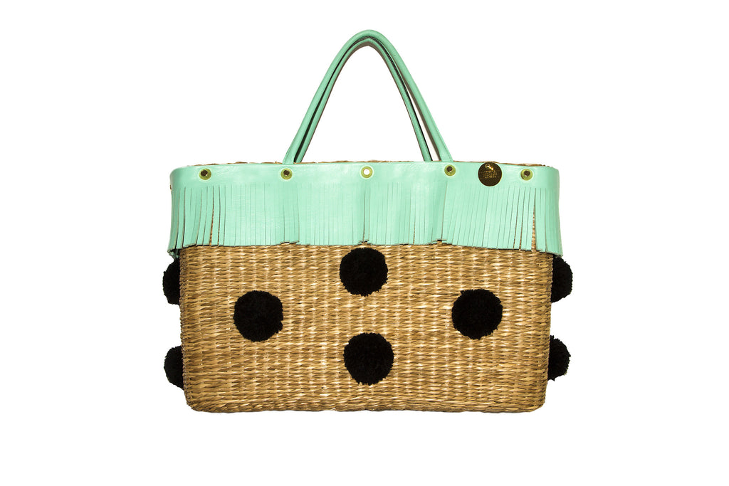 NEW ARRIVAL - Summer Beauty Turquoise Fringed Square Black Pom Pom Straw Bag