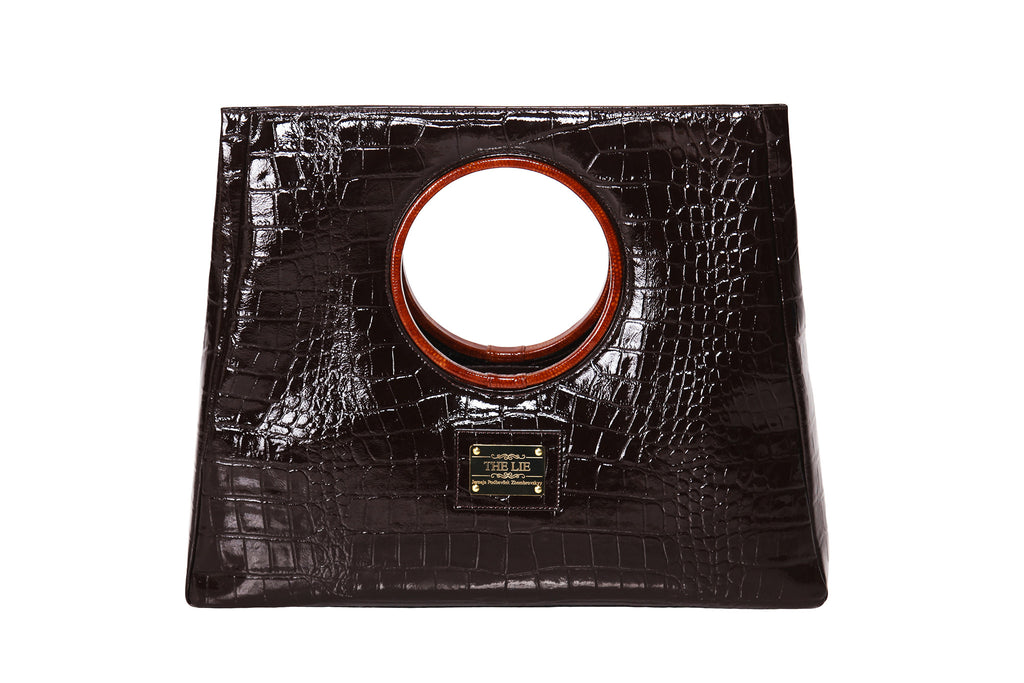 Statement Bag Fashionista Chocolate Brown Croc