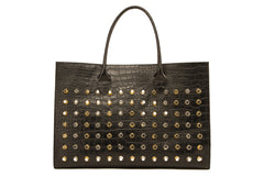 NEW ARRIVAL - Basic Minimalistic Shopper Matte Black Croc Stud Party