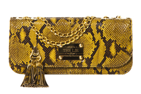 Small Shoulder & Cross Body Clutch Golden Diamond Python