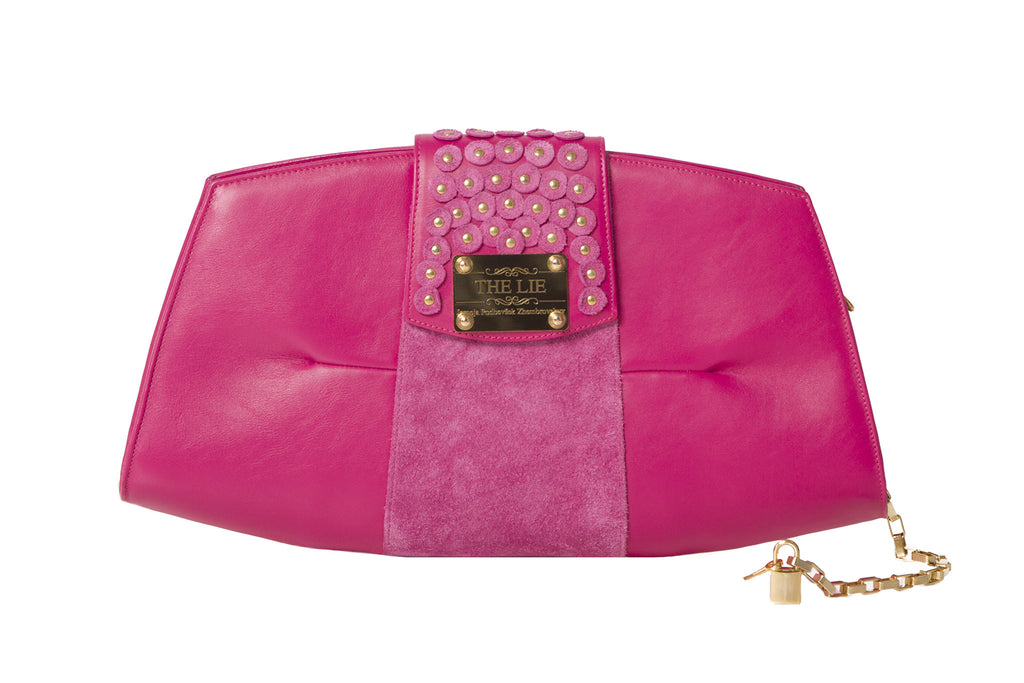 Trapezoid Studded Candy Fuchsia Delight Clutch