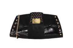 Trapezoid Studded Shiny Black Clutch