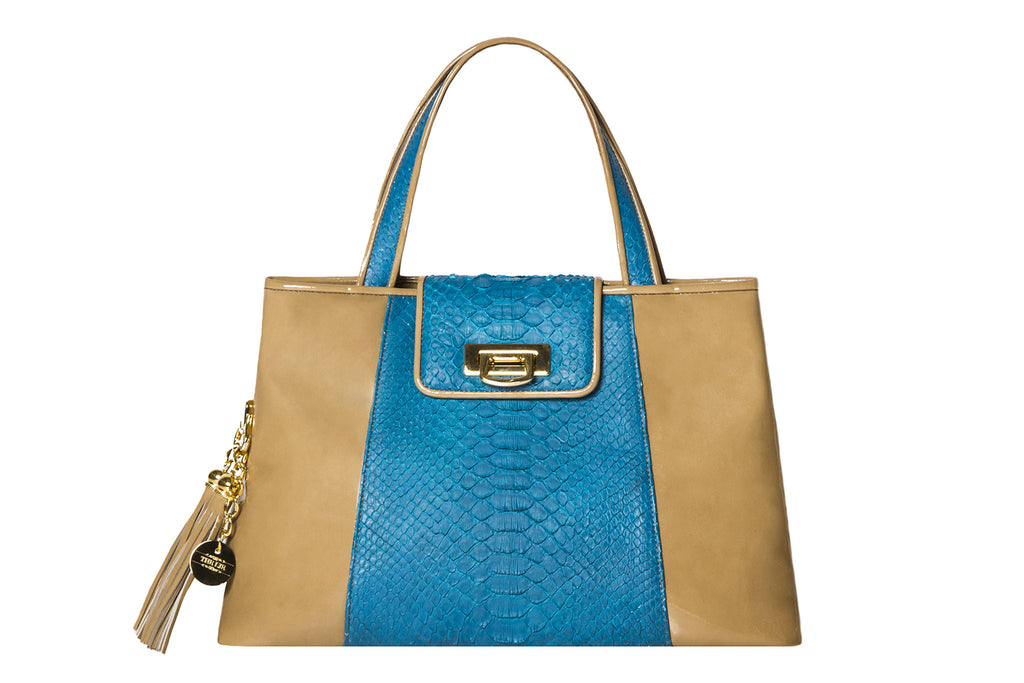 NEW ARRIVAL - Trapezoid Small Mocca Patent Leather & Turquoise Python Tote
