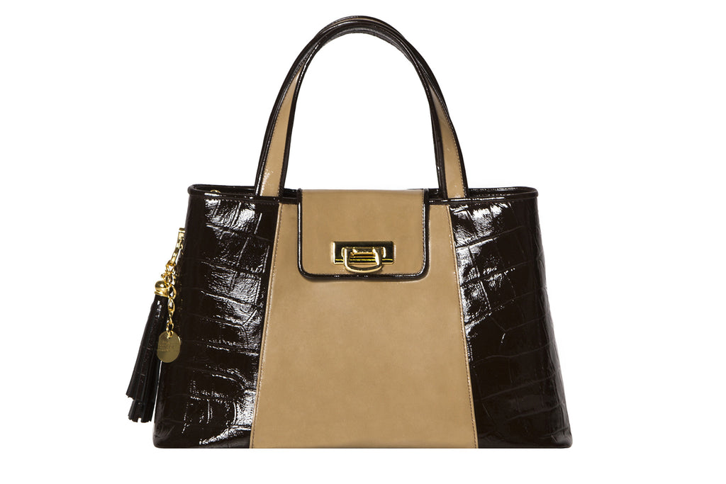 NEW ARRIVAL - Trapezoid Small Chocolate Brown Croc & Mocca Patent Leather Tote
