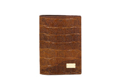 Brown Croco Passport Case