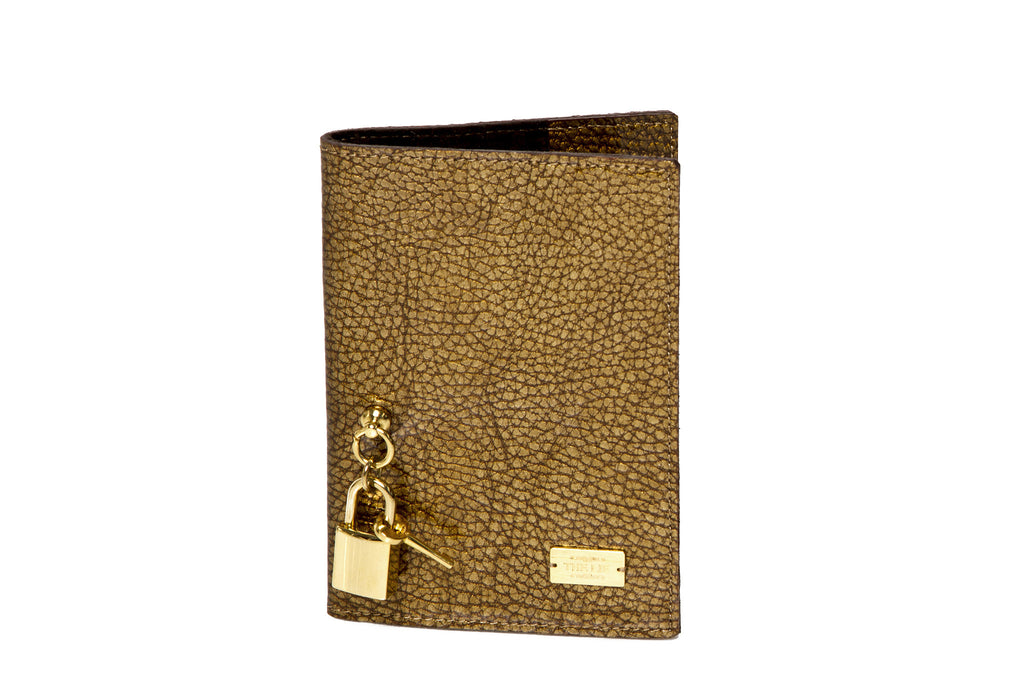 Bronze Olive Passport Case With Lock