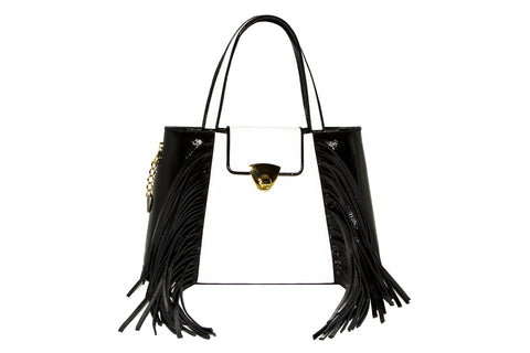 NEW ARRIVAL - Trapezoid Small Black & White Fringed Delight Tote