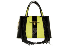 NEW ARRIVAL - Trapezoid Small Envy Green Fringed Delight Tote