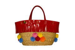 NEW ARRIVAL - Summer Beauty Red Fringed Round Multi Color Pom Pom Straw Bag