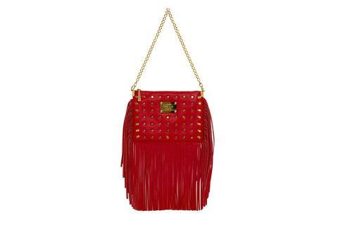 NEW ARRIVAL - Sexy Fringed Drama Shoulder & Cross Body Bag Sexy Red Golden Combo