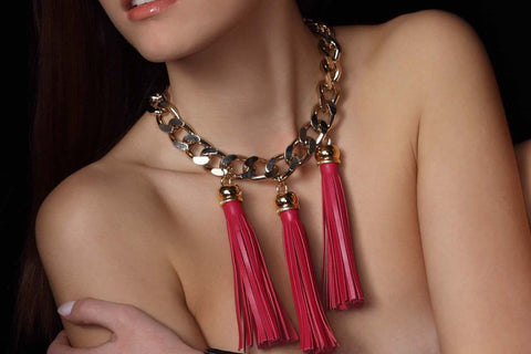 Chunky Love - Trio Golden Candy Tassel Necklace Fuchsia