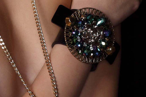 Chunky Love - Rose And Stones Petite Leather Cuff  Black
