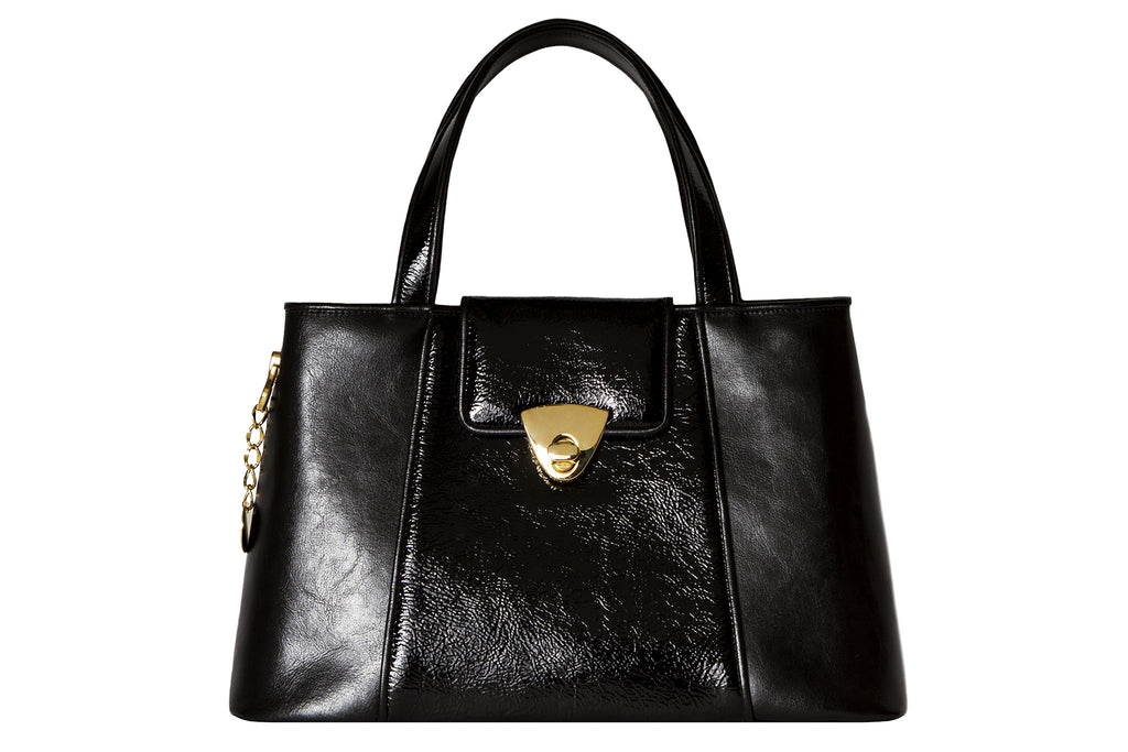 NEW ARRIVAL - Trapezoid Small Matte & Patent Black Leather Tote