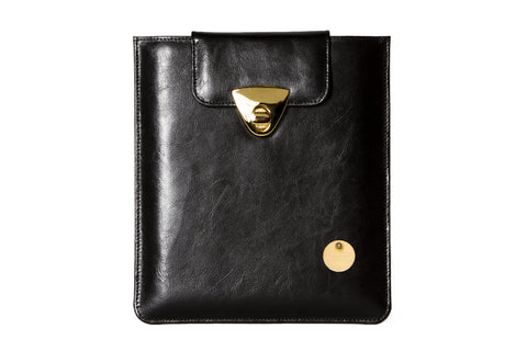 NEW ARRIVAL - iPad Matte Black Leather Chic Golden Case
